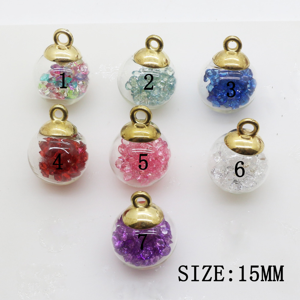 10pcs 15*12mm Colorful Glass Ball Metal Rhinestone Pendant Crystal Beads Jewelry Diy Accessories/Component for Chain Decoration