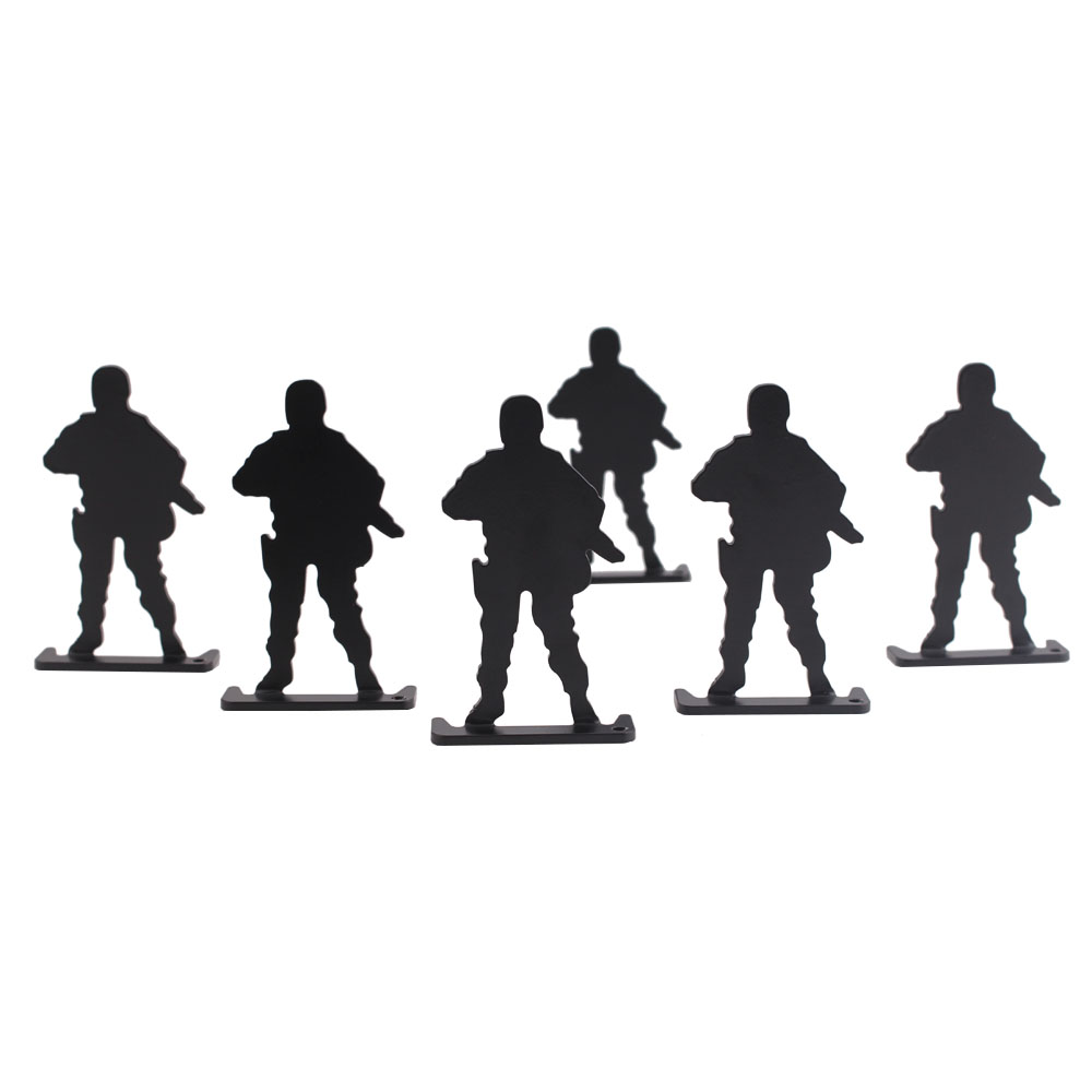 Airsoft Target Military Black Shooting Target 6pcs Standing Army Shape Style Target for Hunting Shooting Use