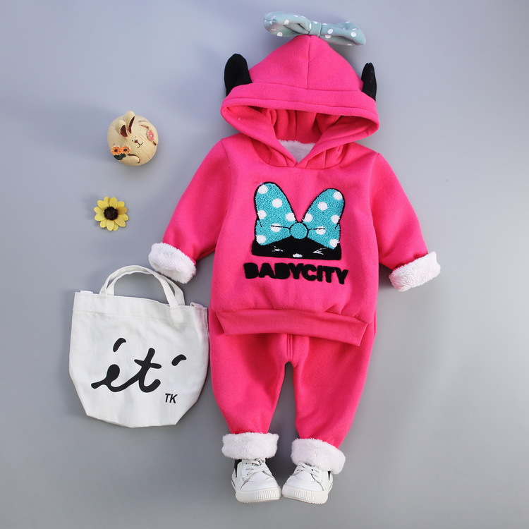 Toddle Kids Girl Clothes Set Cartoon Thickening Hooded Hoodies Tops And Pure Pants 2Pcs Children Tracksuits Costume For Girl