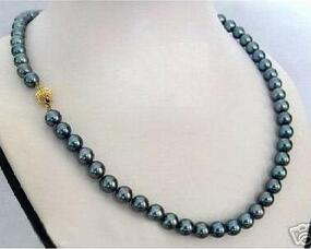 8-9mm south sea peacock green pearl necklace 18inch