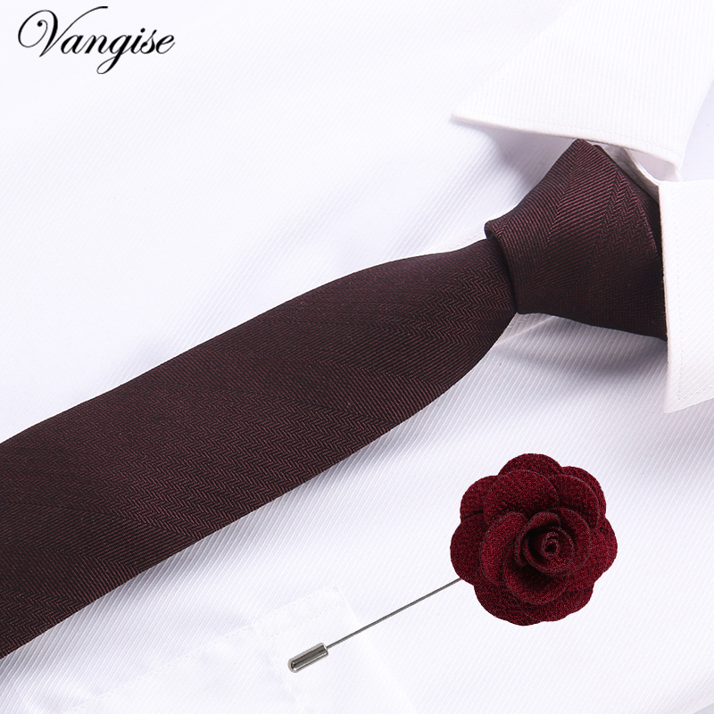 Vangise 6.5cm Cotton Mens Plaid Tie Red Paisley Tie&brooch Set Classic Brown/black/blue Neck Ties For Wedding  Party