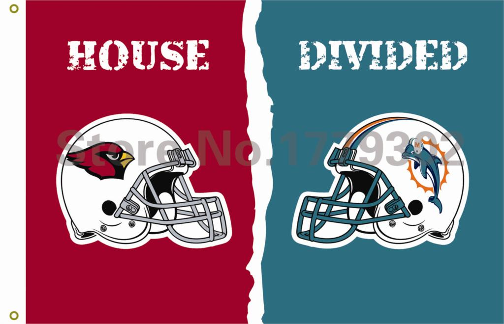 Arizona Cardinals Miami Dolphins helmets House Divided Flag3ft x 5ft