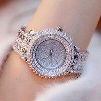 Super Luxus Voller Strass Frauen Uhren Mode Dame Gold Kleid Uhr Neue Weibliche Große Zifferblatt Kristall Armband Uhr reloj mujer-in Damenuhren aus Uhren bei