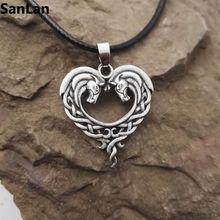 fantasy Celtic Horse Lords Necklace bronze Celtic Horse Heart necklace SanLan