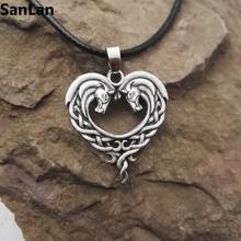 fantasy Celtic Horse Lords Necklace bronze Celtic Horse Heart necklace SanLan(China)