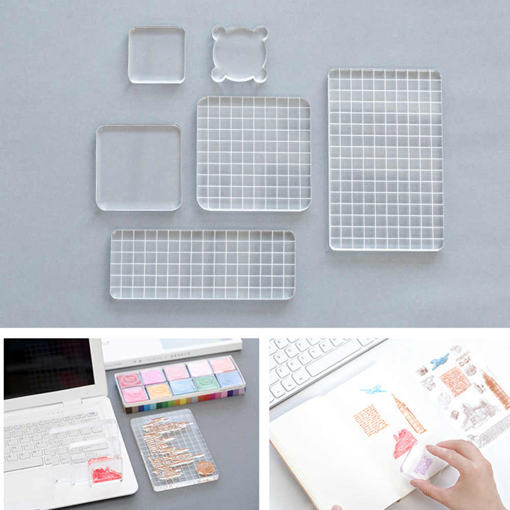 Acrylic Clear Stamp Block Handle Stamping Photo Album Decor Essential Stamping Tools for Scrapbooking DIY Crafts Stamps Making