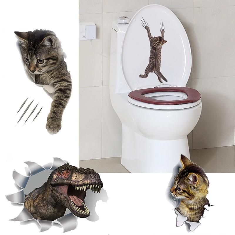 Self Adhesive Kitten Pattern Toilet Seat Stickers Bathroom Wall Ornament WE