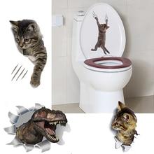 3D стикер на стену с изображением кошек, наклейки на туалет с отверстием для просмотра, яркие собаки, ванная комната, украшение для дома, виниловые художественные наклейки с изображением животных, наклейки на стену