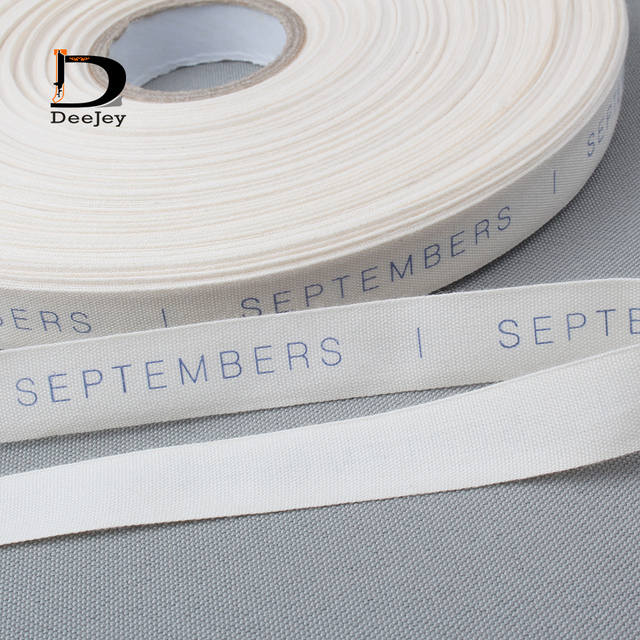 1000pcs Roll Cotton Tag Cloth Label Custom Logo Printed