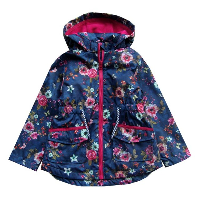 648413f18 children kids girls windproof waterproof navy floral jacket