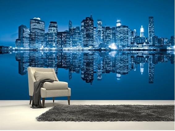 Slaapkamer New York : Custom photo wallpaper manhattan new york moderne d