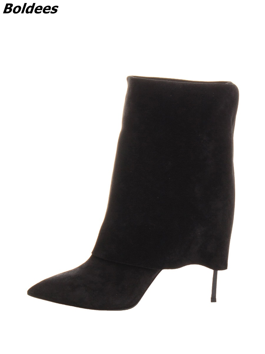 Simply Design Grey Suede Pointed Toe Short Boots Classy Women Turned Over Metal Thin High Heel Ankle Boots Hot Sell Metal Heel sexy black suede pointed toe slim fit long boots classy women unique design metal branch thin high heel over the knee boots