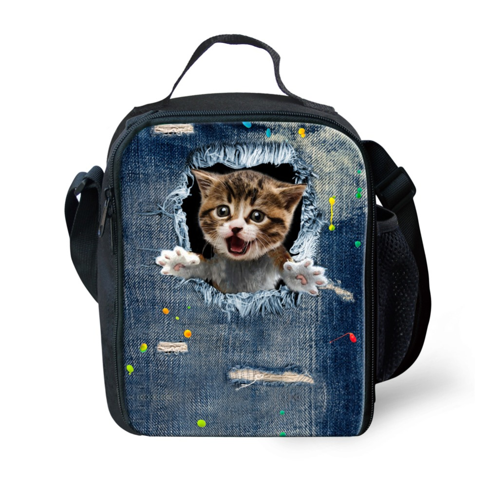 WHOSEPET Portable Insulated Lunch Bags Cute Cat Printed for Women Spring Tour Picnic Food Bags Kids Shoulder Cooler Bags Tote