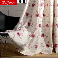 2 Colors High Grade Eco Cotton Linen Embroidered Red Window Treatment for Living Room Semi Blackout Curtain for Bedroom