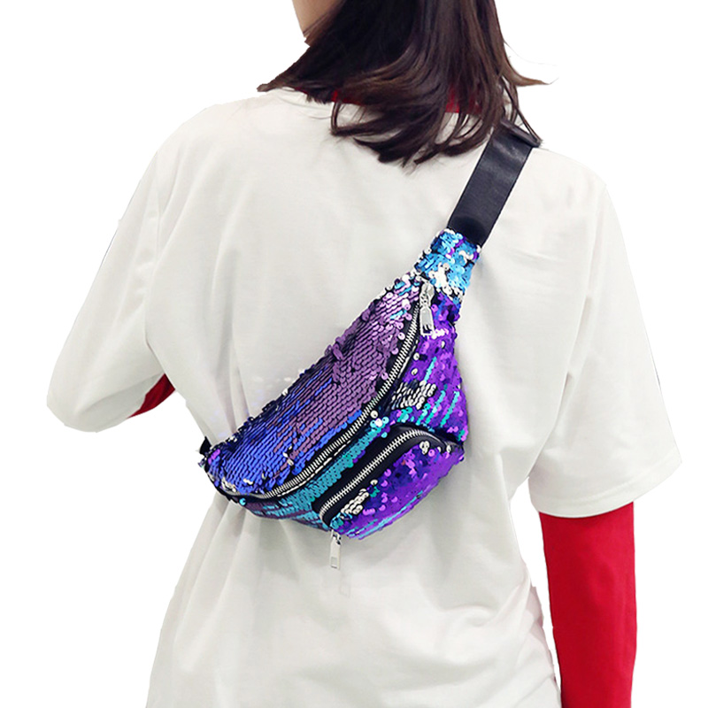 Fashion waist bag Women Unisex Casual shiny Sequins Unisex Waist fanny packs belt bags Women Travel Chest Bags Casual 2018 NEW цена 2017