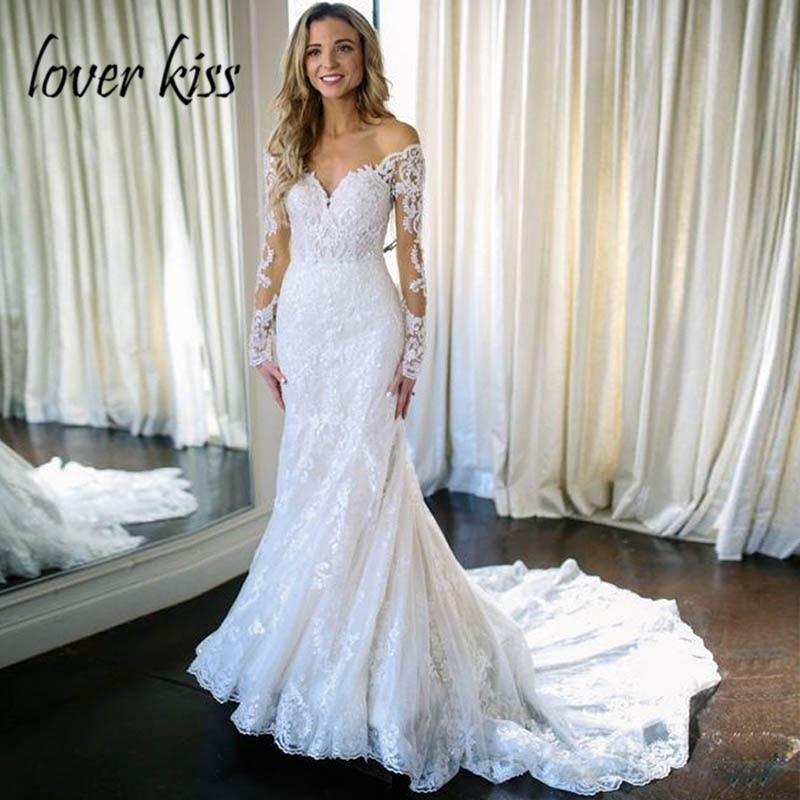 Lover Kiss Vestido De Noiva Sexy Long Sleeve Wedding Dress V Neck Mermaid Summer Beach Bridal
