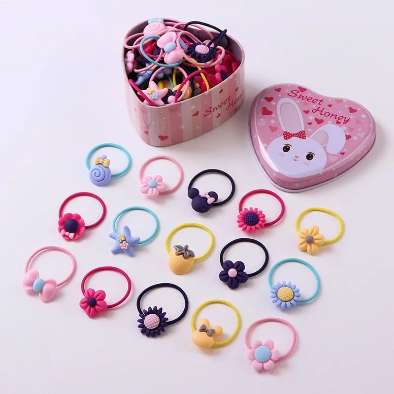 New 20Pcs/lot Fashion Headband Flower Bow Cartoon Children Hair Accessories Elastic Bands Baby Girl Gift Cute Rabbit Tin Box 6 colors new cute girl headwraps top knot dot plaid printed headband children infants big bow elastic hair accessories for