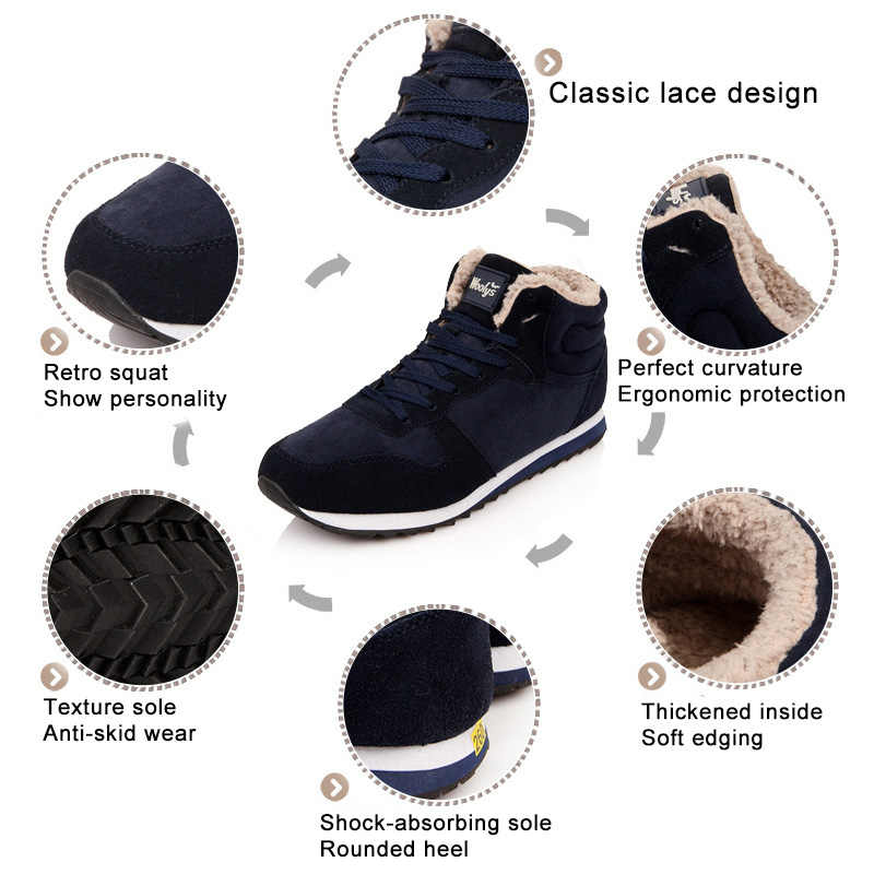 Kadın botları 2019 yeni kar botları kış kadın ayakkabı sıcak peluş siyah dantel-up yarım çizmeler kadın günlük çizmeler kadın artı boyutu