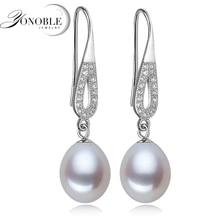 Pendientes de perlas de agua dulce 925 Pendientes de gota de plata para las mujeres naturales de La Perla de la boda romántica joyería fina regalo de la muchacha
