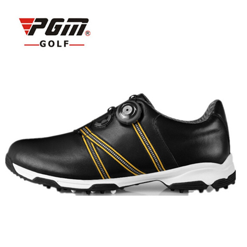 Pgm Men Golf Shoes Leather Waterproof Sport Shoes Men Comfortable Sneakers Spike Outdoor Anti Slip Golf Shoes Hot Sale AA51041 2018 real zapatos de golf para hombre authentic japanese golf shoes male breathable sneakers slip outdoor men hot sale top16001