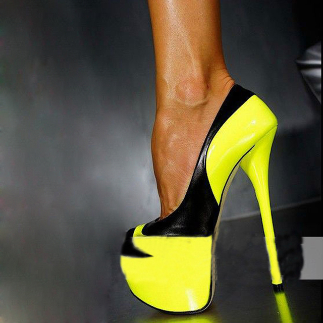 66d80228dcc24 US $109.5 |Sexy Women Platfrom lemon yellow black Leather patchwork Super  high heels Pumps Ladies night club Bright Single Dress shoes -in Women's ...