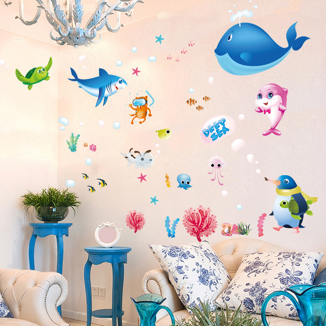 Creative Cartoon Sea Turtle Fish Animal Home DIY Wall Stickers House Decor  For Kids Child Room