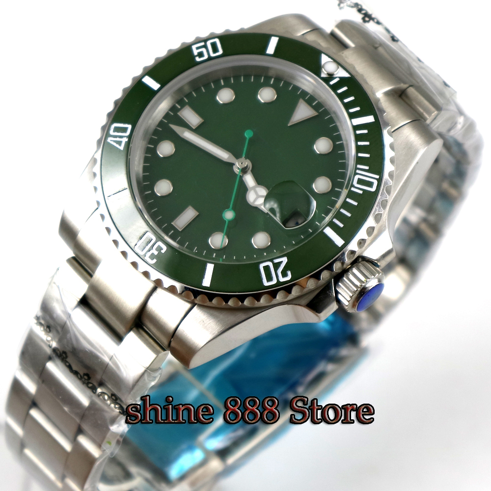 BLIGER 40MM green Sterile Dial Ceramic Bezel Sapphire Crystal Automatic Movement Men's Watch