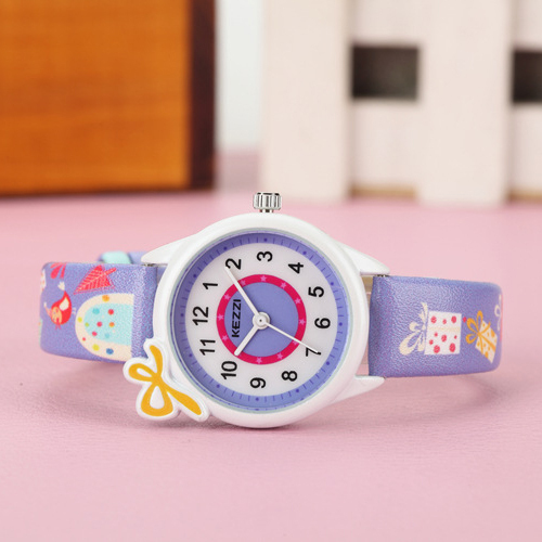 KEZZI Cute Bow Cartoon Watches Waterproof Girl Kid Children Wristwatches Round Dial Printings Leather Strap Quartz Watch Reloj