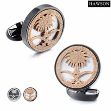 HAWSON Arabic Style Cufflinks Palm Tree with Crossed Tulwars/Machetes Special Design for Muslim People of Middle East Arab Robe