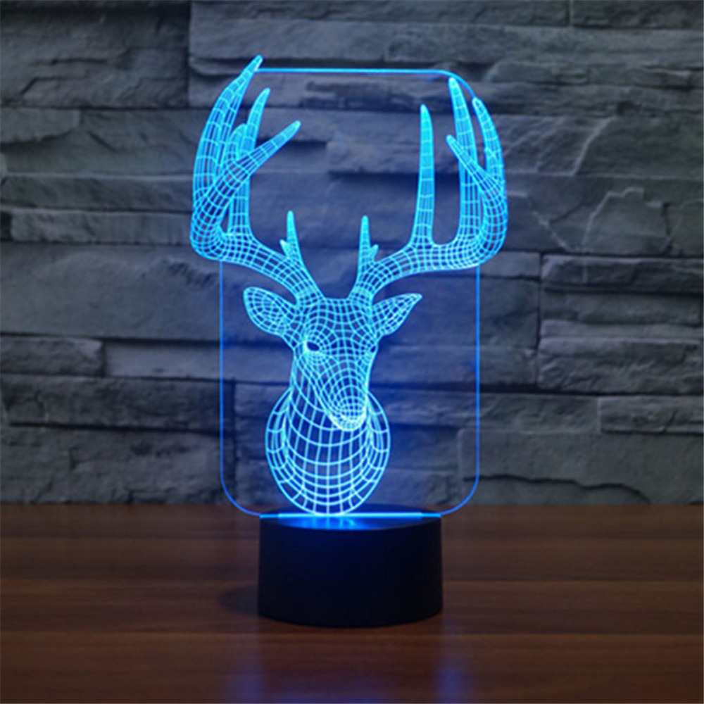 AUCD  Acrylic 3D Illusion LED Gradient Night Light Children Cute USB touch Table Lamp Deer Toys Christmas Gifts-147