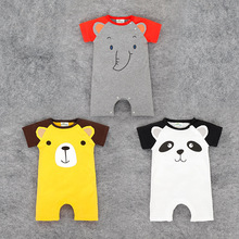 new short sleeved unisex baby clothes baby Romper jumpsuit elephant cute animal panda climbing clothes cotton