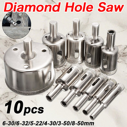 Hot Sale 10 Pçs/set 8-50mm Revestido De Diamante Núcleo Broca Buraco Serra Bits da Ferramenta do Cortador Para Telhas de Mármore de Vidro Granito de Perfuração Melhor preço