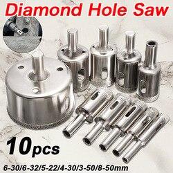 Hot Sale 10 pçs/set 8-50 milímetros Diamante Revestido Núcleo Buraco Bits Saw Broca Cortador Ferramenta Para Perfuração de Telhas de Mármore de Vidro Granito Melhor Preço