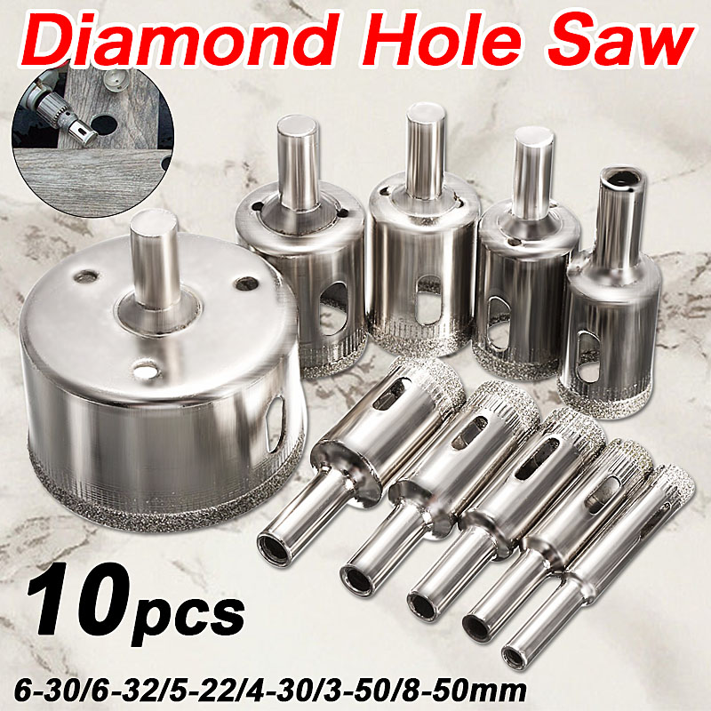 цена на Hot Sale 10PCS/set 8-50mm Diamond Coated Core Hole Saw Drill Bits Tool Cutter For Tiles Marble Glass Granite Drilling Best Price