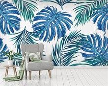 цены Beibehang Custom wallpaper mural tropical leaves rainforest plant background wall 3d wallpaper for living room papier peint