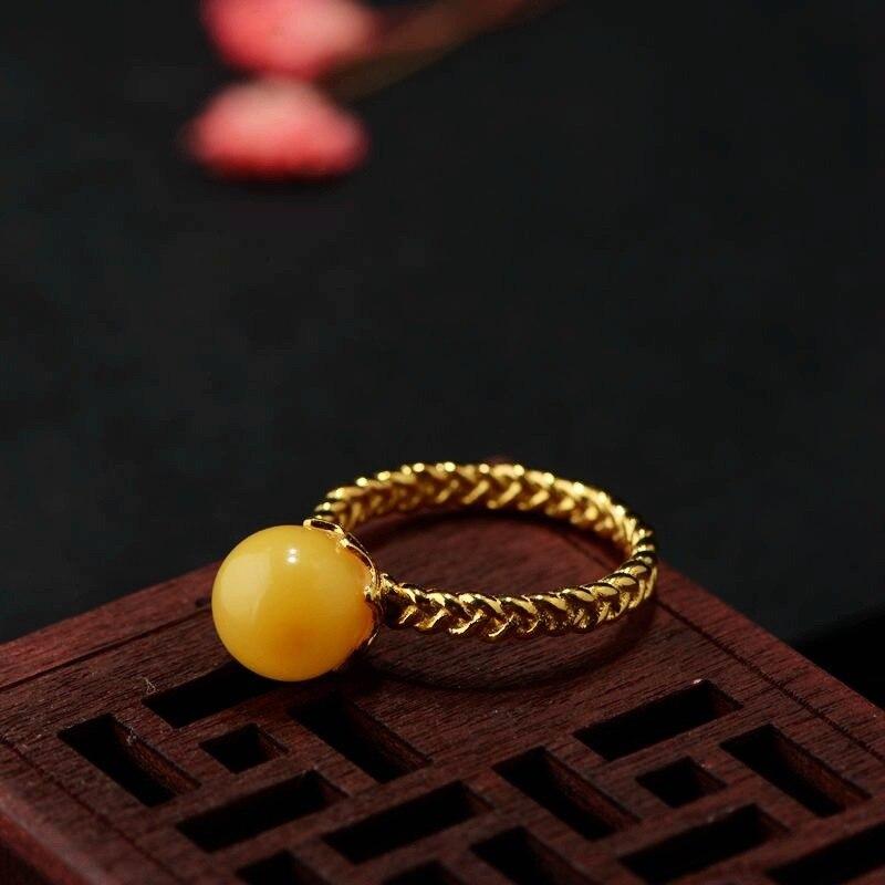 S925 processus de placage d'argent pour les femmes simple boule de cire d'abeille en gros argent bague en argent doré bague femme
