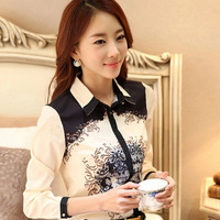 Classique Imprimé Lady Mode En Mousseline de Soie Chemises Taille S-3XL Nouvelle-Coréen OL Style Vêtements 2015 Élégant Femmes Casual Blanc Blouse