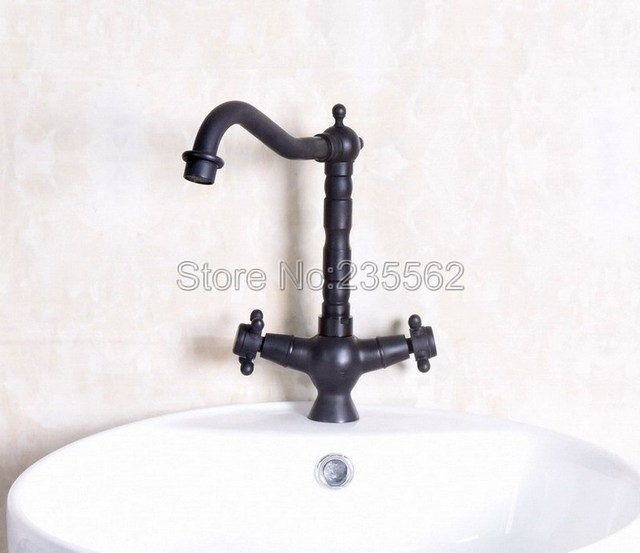 new arrival dual handle bathroom faucet basin black oil rubbed