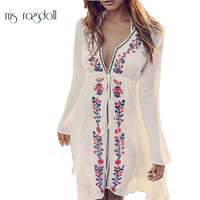 Women Sexy New Arrival Beach Cover Up Embroidery Vintage Swimwear Ladies Tunics Kaftan Beach Dress Beach