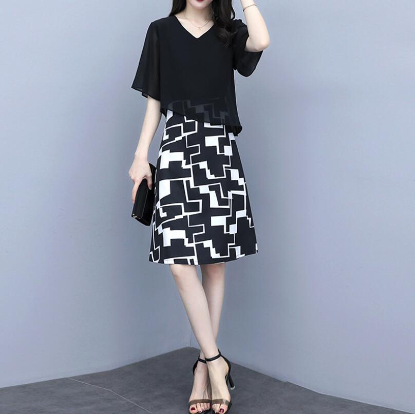 Black with colorful dresses ladies clothes women dresses for summer day