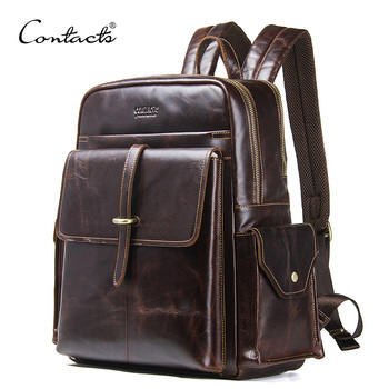 CONTACT'S Genuine Leather Men's Backpack For 13.3'' Laptop Vintage Bags Crazy Horse Leather Male Daypack Fashion Travel Bag Man