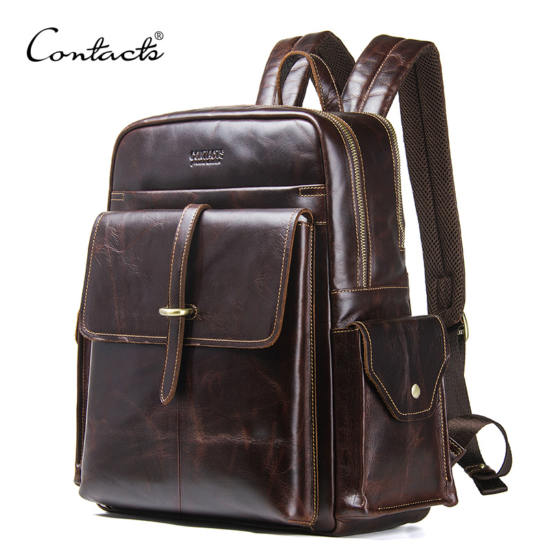 CONTACT'S Genuine Leather Men's Backpack For 13.3'' Laptop Vintage Bags Crazy Horse Leather Male Daypack Fashion Travel Bag Man men genuine leather fashion travel university college school bag designer male coffee backpack daypack student laptop bag 1170c