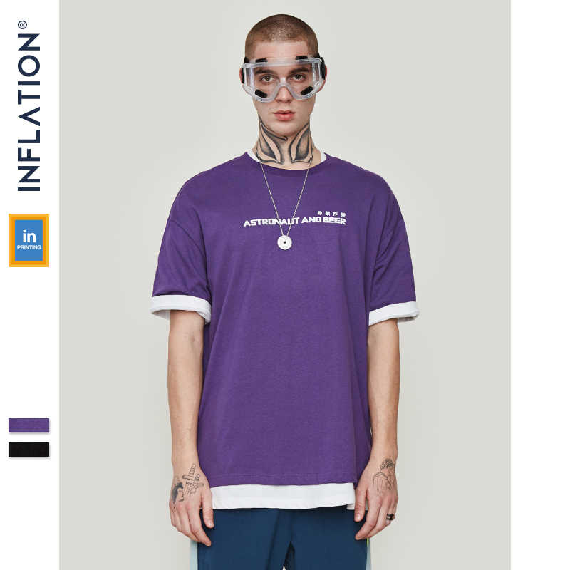 1fd3568ec ... INFLATION 2019 SS Collection New Arrivals Graphic Tees Loose T-shirt  Men Summer Black T ...