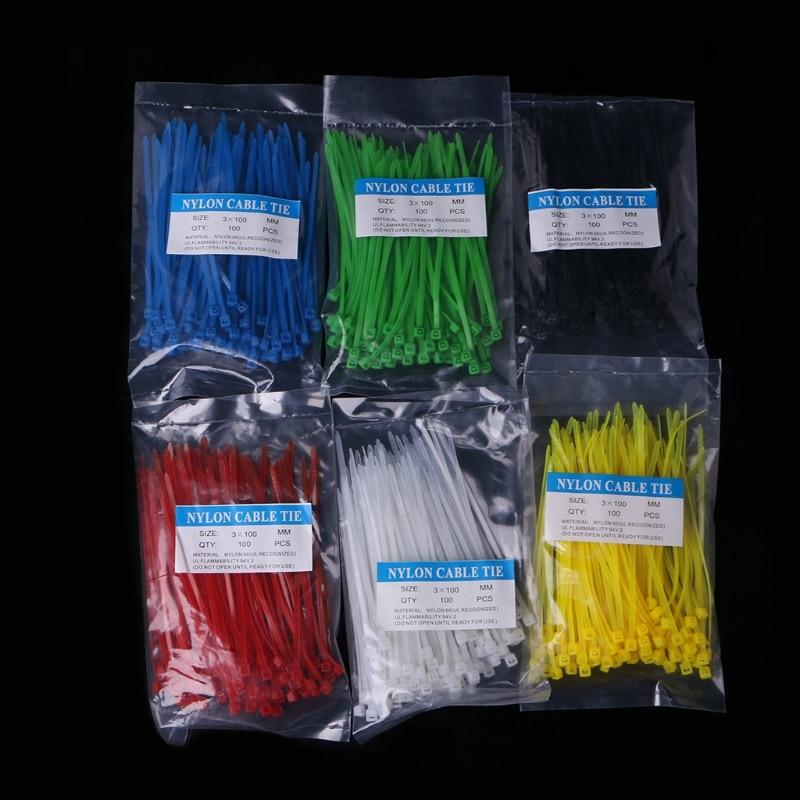 600 Pcs 3 x 100mm Nylon Plastic Zip Trim Wrap Cable Ties Wire Self-Locking Colorful L15 2 5 x 100mm self locking nylon cable zip ties black 100 pcs