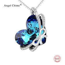 925 Sterling Silver Crystals From SWAROVSKI Heart Pendant Necklaces Women Maxi Collares Mother's Day Gifts