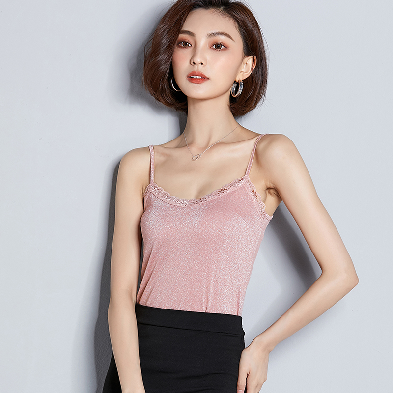 AOSSVIAO Solid Lurex Hot Sale Tank Summer New Style Elastic Thin Silk lace top female Spring streetwear backless chic cami Pink in Camis from Women 39 s Clothing