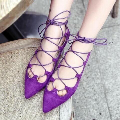 Lace Up Flats Women Flat Shoes 2017 Spring & Summer New Fashion Pointed Toe Gladiator Design Free Shipping meotina brand design mules shoes 2017 women flats spring summer pointed toe kid suede flat shoes ladies slides black size 34 39
