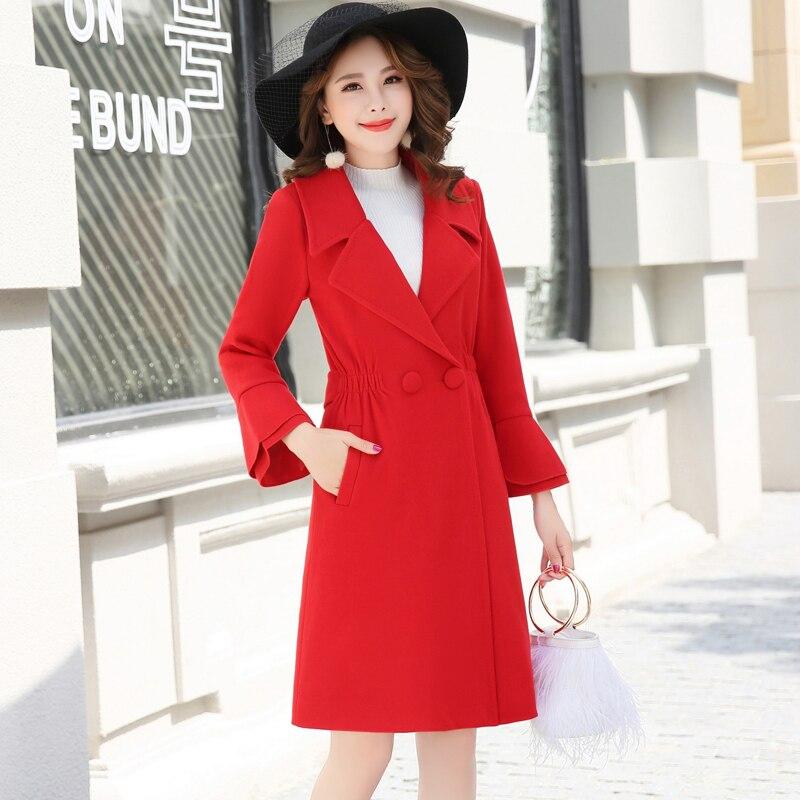 Automne femmes rouge mi long manteau de laine 2018 hiver nouvelle mode élégante coréenne décontracté femme tempérament Caramel laine manteau XY179 - 4