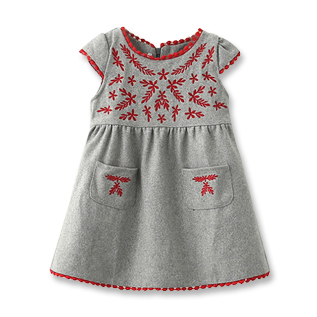 1031faffe New Little Girls Dresses Kids Corduroy Dress Fashion Embroidery ...