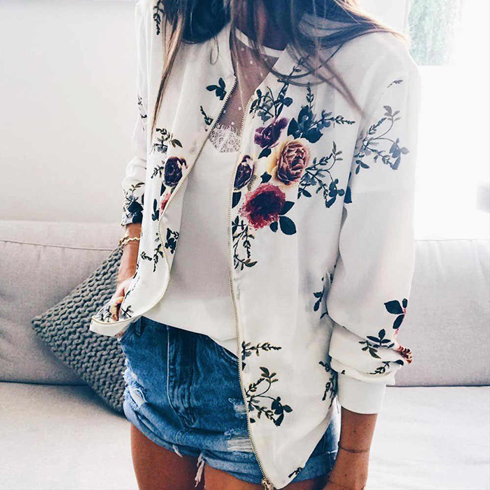 Outerwear & Coats Jackets Womens Ladies Retro Floral Zipper Up Bomber Outwear Casual coats and jackets women 2019